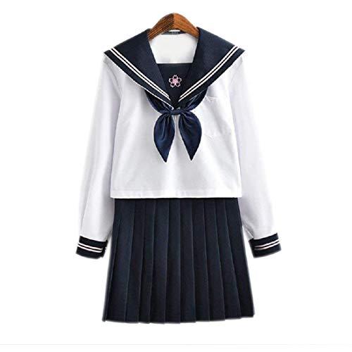 Y & Z blauwe rok goudvissen knoop witte zeeman pak lange mouwen volledige set Cosplay kostuum