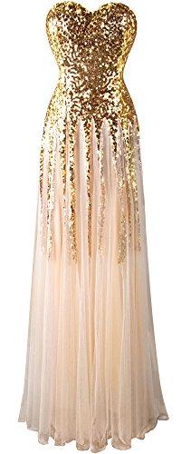 Angel-fashions Damen Gold Paillette Schatz Tüll Schnüren Hochzeitskleid Large