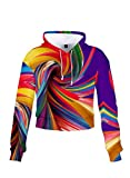 FOBEXISS Camiseta deportiva de manga larga con capucha y cordón para mujer con estampado colorido