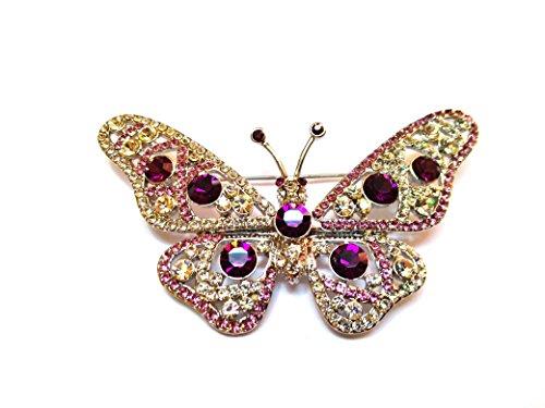 Brosche Schmetterling pink karriert Etui Klappe Jacke, Mantel und Ergänzung Mode.,