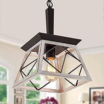 Q&S Farmhouse Rustic Hanging Pendant Light Fixtures,Vintage Chandelier,Industrial Light Fixture for Kitchen Island Dining Room Entryway Foyer,Oak White+ORB Finish,Adjustable
