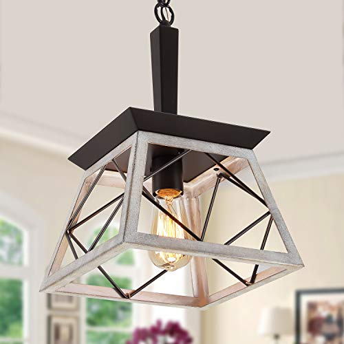 Q&S Farmhouse Pendant Light Fixture,Vintage Pendant Light Chandelier,Industrial Hanging Lighting,Wrought Iron,Oak and ORB ,1 Light E26
