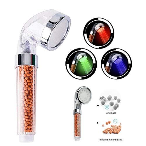 HJ Stay Real LED Filtration Duschkopf, Hoher Druck Handbrause, Wassertemperatur Kontrolle, 3-Licht(Farbwechsel in Verschiedenen Temperatur), mit Filtrationssystem, Entfernt Chlortoxine und Schadstoffe