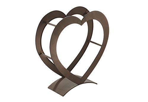 Kobolo Kaminholzregal Heart aus Metall in der Farbe antikbraun