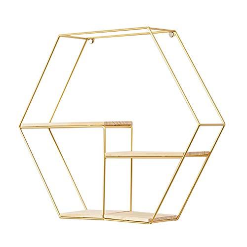 Topbathy, mensole da parete in filo di metallo, design esagonale, con base in legno, mensole sospese, per decorazione di casa e ufficio (oro)