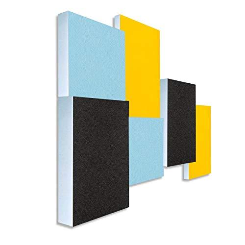 Basotect G+ Schallabsorber 3D-Set < 6 Elemente > Diverse Farben (Hellblau + Sonnengelb + Anthrazit)