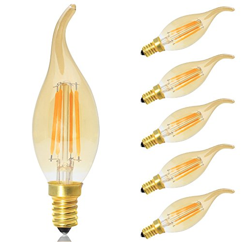 5X Ampoule LED E14 Flamme Vintage Bougie 4W Blanc Chaud 2700K,Equivalence incandescence 30 W,AC 220V