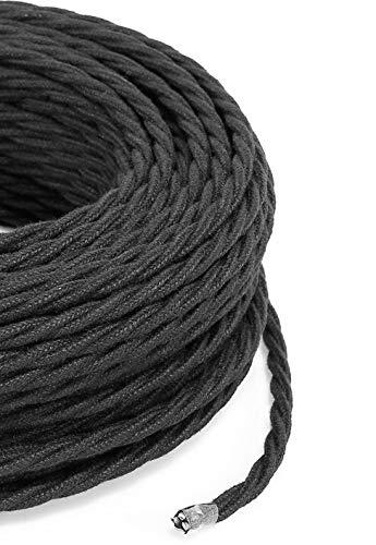 Cable eléctrico trenzado/trenzado revestido de tela. Color negro algodón. Sección 3 x...