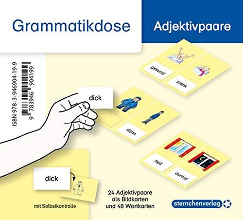 Meine Grammatikdose - Adjektivpaare: 24 Adjektivpaare als Bildkarten und 48 Wortkarten mit rückseitiger Selbstkontrolle in der Box