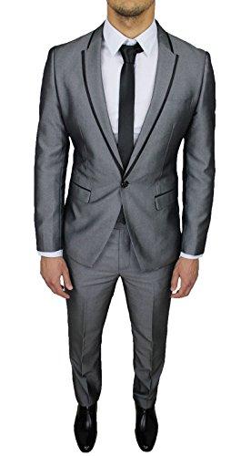 Abito Completo Uomo Sartoriale Grigio gessato Slim Fit Vestito Elegante Cerimonia (46)