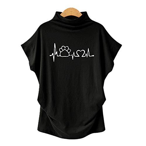 DREAMING-Camiseta De Manga Corta De Murciélago con Cuello En V para Mujer, Talla Grande, Primavera Y Verano, Manga Corta + Estampado 3XL