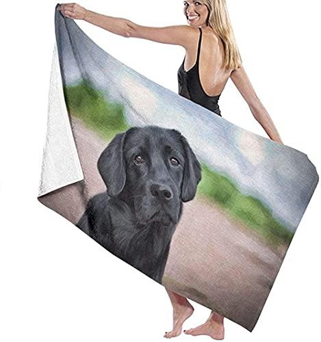 Telo Mare Grande 130 ×80cm, Disegno Cani Labrador Nero,Asciugamano da Spiaggia in Microfibra Asciugatura Rapida,Ultra Morbido,Uomo,Donna,Bambina