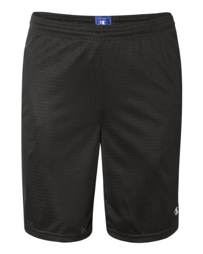 Champion Mens Long Mesh Shorts with Pockets Black