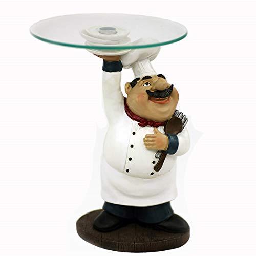 Witte chef-kok beeldje woonkamer restaurant creatieve glazen fruitschaal hars ambachten hotel taart winkel decoratie