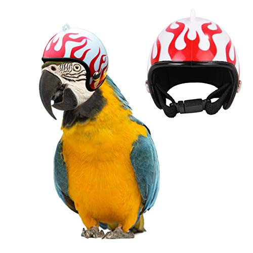 Price comparison product image CooShou Parrot Helmet Toy for Chicks Hens Bird Helmet Hat Costume Birthday / Halloween / Christmas Party Head Cover for Parakeet Cockatiels Conure Lovebird Flame