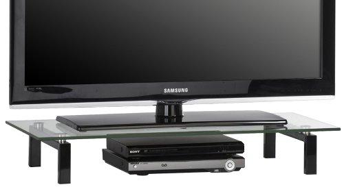 MAJA-Möbel 1603 9599 TV-Board, Metall schwarz - Klarglas, Abmessungen BxHxT: 82 x 12,5 x 35 cm