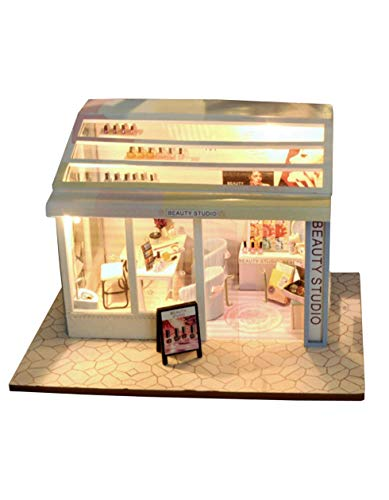 [リトルスワロー] 世界のおしゃれなファッションショップ ミニチュア ドールハウス 模型 DIY 工作キット セット ギフト 雑貨 女の子 椅子 ハウス 花 小物 装飾 おもしろ 家 建物 電球 ウッド box 親子 植物 (ネイルサロン)