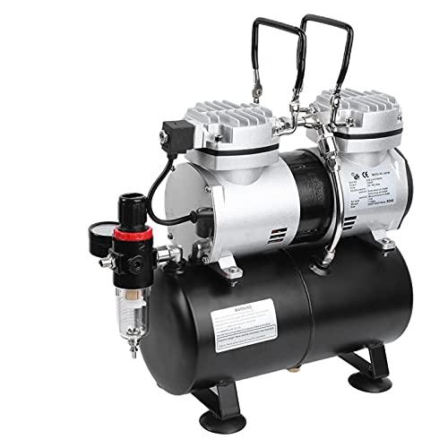 Compresor de aire, 47DB Poco Ruido Compresor de Aire, Alta presión Bomba de Aire de alta presión Electrico con Manómetro,...