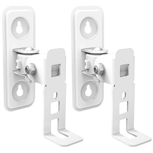 deleyCON 2 Lautsprecher-Boxen Wandhalterung für SONOS Play 1 Schwenkbar Drehbar Neigbar Full-Motion Halterung Wand-Halter Multiroom Speaker - Weiß