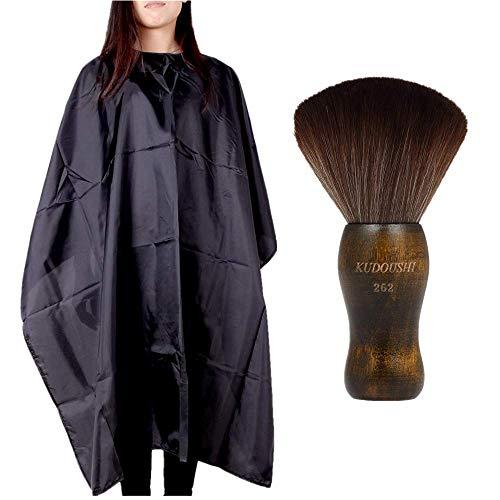 Anself, Nackenpinsel aus Naturfasern mit Holzgriff & Friseurumhang zum Haareschneiden, wasserfest, für Friseursalons