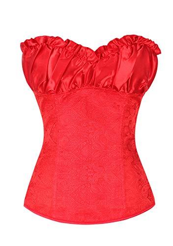EFOFEI Corsetto da donna da cortile, corsetto regolabile con lacci stampati, sexy, cintura Rosso Loli m