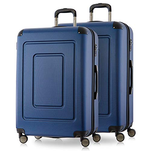 Happy Trolley - 2er Koffer-Set Trolley-Set Rollkoffer Hartschalen-Koffer Reisekoffer Lugano sehr leicht, TSA, (2XXL), Dunkelblau