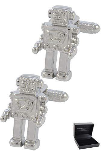 COLLAR AND CUFFS LONDON - Gemelos Caja DE Regalo - Robot - Moderno Tecnología Mecánica Ingenieria - Latón - Color Plata