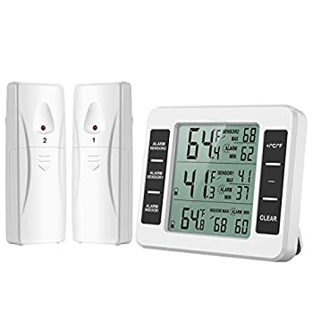 ORIA Refrigerator Thermometer Indoor Outdoor Thermometer with 2 Wireless Sensors Freezer Thermometer Audible Alarm Min and Max Display LCD Display for Home  Battery not Included