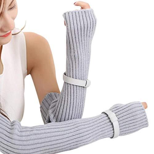 FFSMCQ Gebreide vrouwen lange handschoenen vrouwen winter handschoenen warme wol handschoenen knop type toetsenbord vingerloze creatieve vinger breien vingerloze handschoenen A