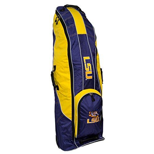Team Golf NCAA LSU Tigers Travel Golf Bag, High-Impact Plastic Wheelbase, Smooth & Quite Transport, Includes Built-in Shoe Bag, Internal Padding, & ID Card Holder