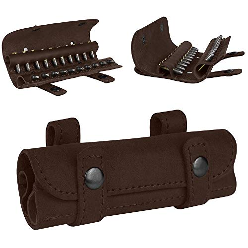 BRONZEDOG Genuine Leather Ammo Pouch .22 Cal Shotgun Shell Holder Belt Cartrige Case Hunting Accessories (Brown)