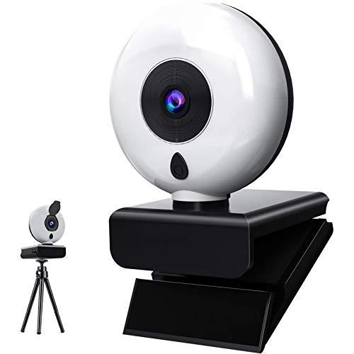 Kdely Webcam con Micrófono para PC 1080P Full HD Estéreo y Luz Anular, USB 2.0 Cámara Web para Streaming con Tripode y Tapa Webcam Compatible con Windows/Mac OS X/Android/Youtube/Skype/Zoom/PS4/Xbox