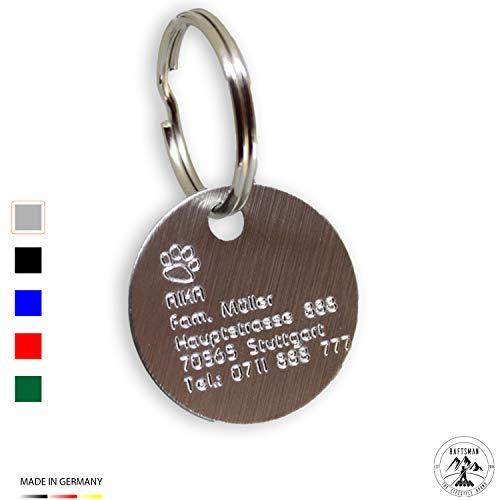 Raftsman Hundemarke mit Gravur - ID Tag - Adressanhänger - Adressschild - Individuelle - Personalisiert - Diamantgravur (Silber-Edel)