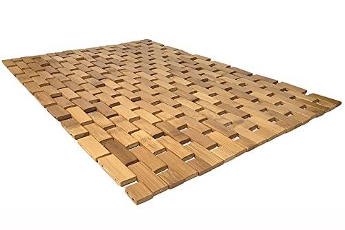 Vetrineinrete® Tappeto in legno bamboo antiscivolo flessibile impermeabile per bagno cucina sauna 50x50 cm 40x60 cm (40x60 cm) P32