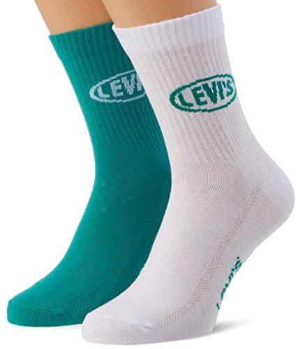 Levi's 90s Short Cut Socks Calcetines Corto con Logo de los 90, Green/White, 43 Regular Unisex Adulto