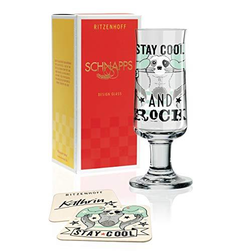 RITZENHOFF Schnapps Schnapsglas von Kathrin Stockebrand, aus Kristallglas, 40 ml, mit fünf Schnapsdeckeln