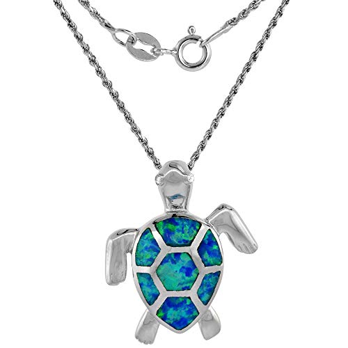 Sterling Silver Synthetic Opal Sea Turtle Necklace for Women CZ Eyes Hand Inlay 20 inch ROPH_25