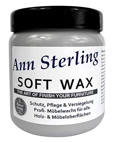 "Ann Sterling""Soft Wax"" Wachs Möbelwachs Shabby Chic Holzwachs Versiegelung Finish Wachs Kalkwachs (500ml, Grau)"
