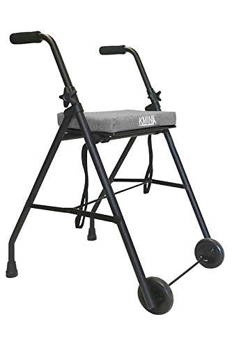 KMINA - Rollator lichtgewicht en opvouwbaar, Rollators binnen en buiten, Looprek op wielen, Looprek met zitje, Opvouwbare looprek, KMINA Comfort Grijs