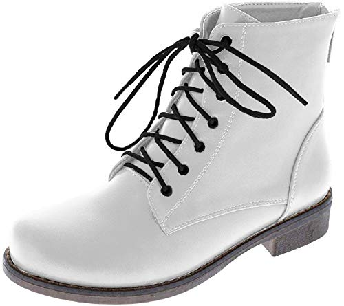 Harper Shoes Womens Combat Boots Military Lace Up Ankle High, White, 7
