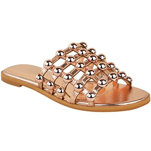 Fashion Thirsty Plano Mujer con tachuelas Deslizables Enjaulado Sandalias de Verano Puntera Abierta Zapatos Sin Cierres - Oro Rosa Metálico, 38 (Ropa)