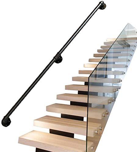Escalera De Hierro Negro Pasamanos, Altillo Interior De Una Casa De Seguridad Contra La Barandilla De La Pared For Ancianos Antideslizante/Decoración Retro Corredor - Longitud 25~700cm