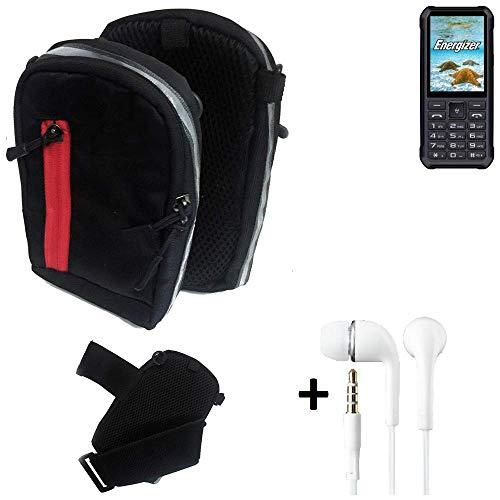 K-S-Trade Outdoor Gürteltasche Holster Umhängetasche + Kopfhörer Für Energizer H20 Schwarz Handytasche Hülle Travelbag Schutzhülle Handyhülle