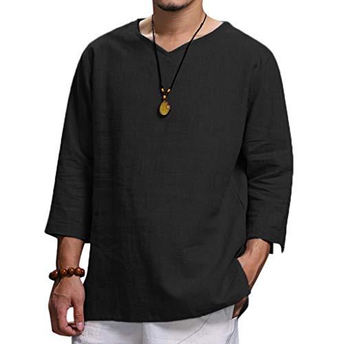 Rosennie Herren Hemden Herbst Baumwolle Leinen Shirt Langarm Leinenhemd aus Mode Bluse Top Herren Regular Fit Freizeithemd Casual T-Shirt Solid Langarm-Shirts für Männer Langarm Bluse
