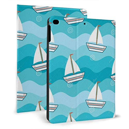 Ipad case Cartoon Cute Lovely Boat in The Sea Slim Lightweight Smart Shell Stand Cover Case for7th 10.2 inch