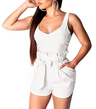 LightlyKiss Womens Spaghetti-Strap Summer Cute Rompers Sexy Tank Top Plus Size Beach Outfits with Pockets White