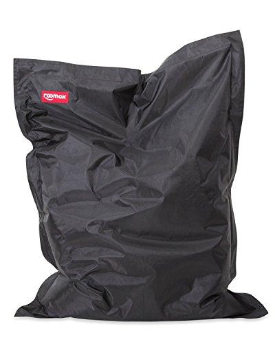 Roomox Kingsize Sitzsack Original – Kingsize Sitzsack für drinnen und draußen Stoff 180 x 140 x 30 cm, gigantischer Sitzsack Bodenkissen aus Wasserresistentem Polyester, Schwarz