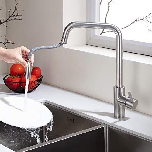 Homelody Mischbatterie Armatur Ausziehbar Wasserhahn mit Edelstahl Brausekopf Küchenarmatur 360° drehbare Küche Spültischarmatur für Spülbecken