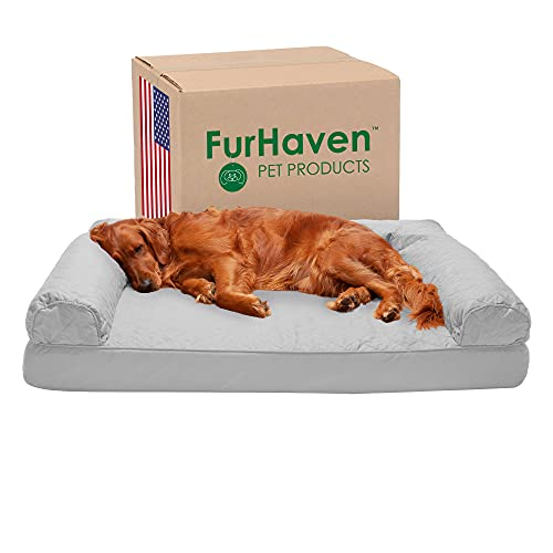 Furhaven Orthopedic Pet Bed for Dogs and Cats - Sofa-Style Quilted Couch Dog Bed with Removable Washable Cover, Silver Gray, Jumbo (X-Large)