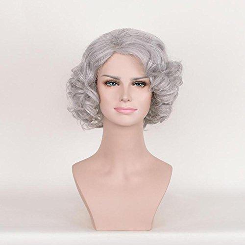 Frauen Art und Weise Kurze wellenförmige lockige graue Perücken Synthetisches Haar Hoch Temperatuer Natürlich Als Real Hair Perücken für Cosplay Daily Use